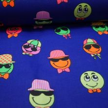 100% Cotton Smiley Face Print on Royal Blue Fabric x 0.5m